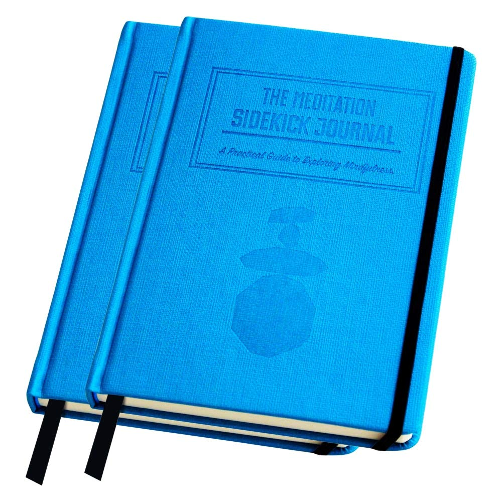 Bundle - Two Blue Meditation Sidekick Journals. A Meditation Book & 90-Day Mindfulness Journal. Guided Self-Discovery Gratitude Journal.