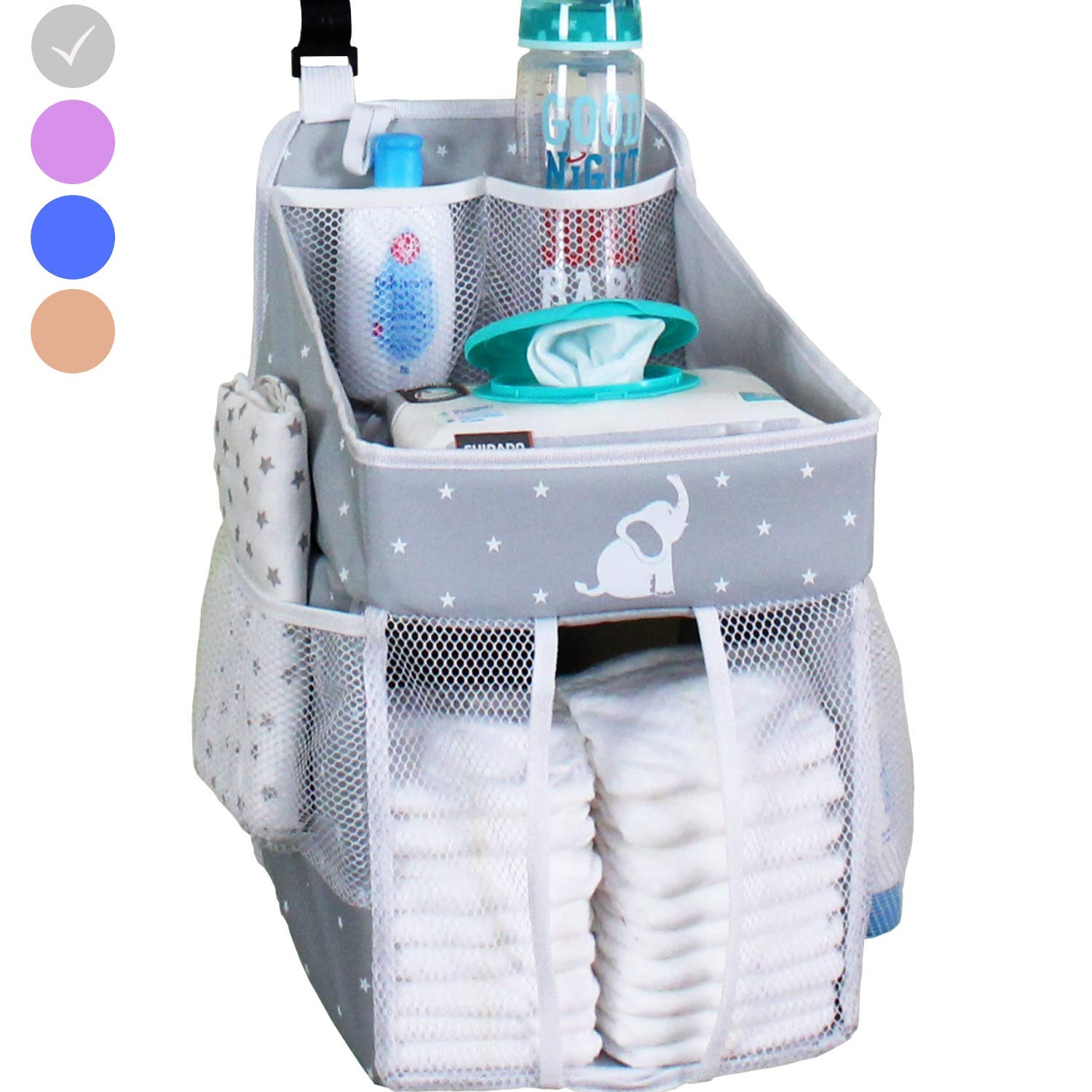 Hanging Diaper Caddy - Crib Diaper Organizer - Diaper Stacker for Crib, Playard or Wall - Newborn Boy and Girl Diaper Holder for Changing Table - Baby Shower Gifts- Elephant Gray - 17x9x9 inches by Cradle Star
