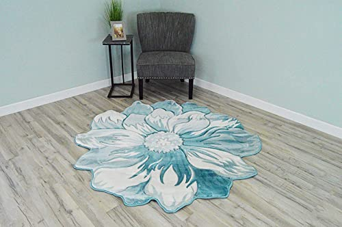 Flowers 3D Effect Hand Carved Thick Artistic Floral Flower Rose Botanical Shape Area Rug Design 305 Blue 6'6''x6'6'' Round