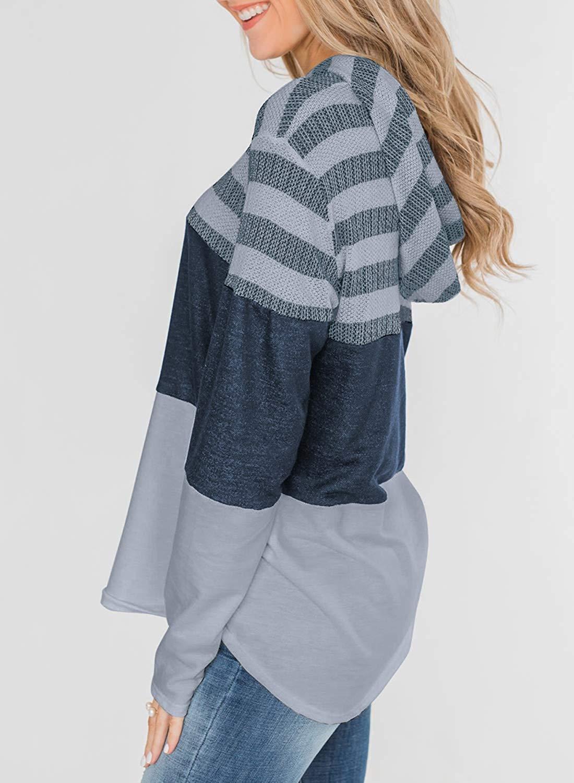 Womens Cowl Neck Color Block Striped Tunic Sweatshirt Drawstring Pullover Tops Grey