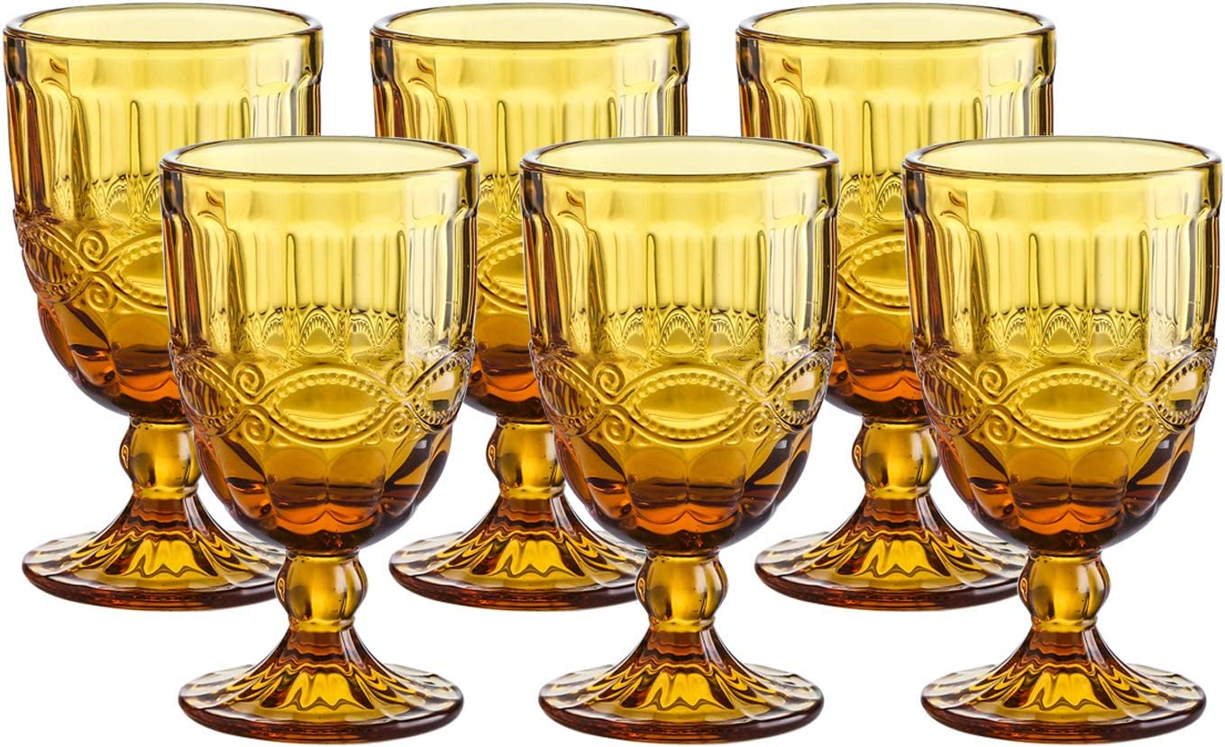 Amazon Com Colored Glass Goblet Vintage Pressed Pattern Wine Glass Wedding Goblet 8 7 Ounce Amber Wine Glasses