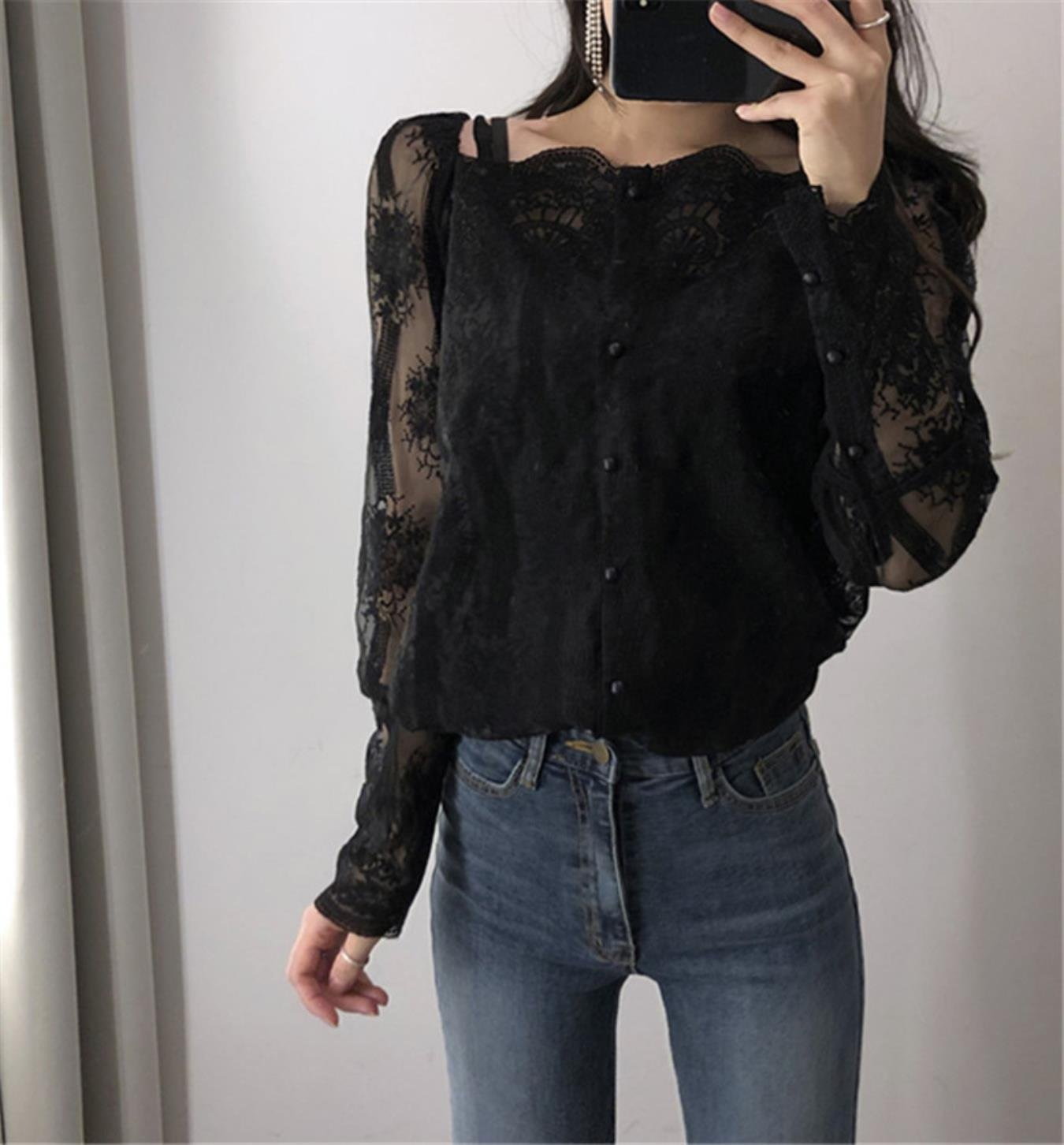 Neploe Lace Blouses Sexy Womens Blouse Ladies Off Shoulder Tops Korean Casual Blouse Long Sleeve Shirts