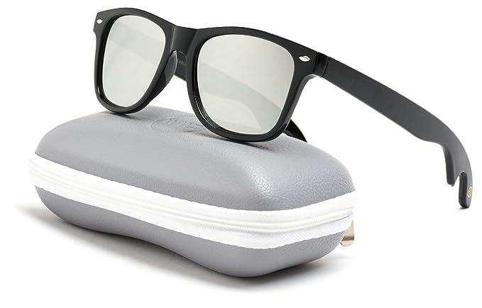 21c9dbe8dc New Horn Rimmed Style Bottle Opener Sunglasses (Black Frame Mirror Silver  Lens