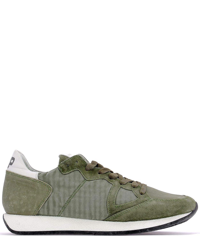 - PHILIPPE MODEL Men's MVLUBX09 Green Suede Sneakers