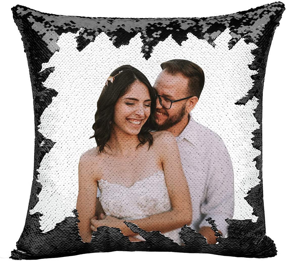 Amazon Com Custom Pillow Personalized Custom Photo Sequin Pillow Comes With Stuffing Included Magic Reversible Home Decor Personalized Gifts Black Kitchen Dining