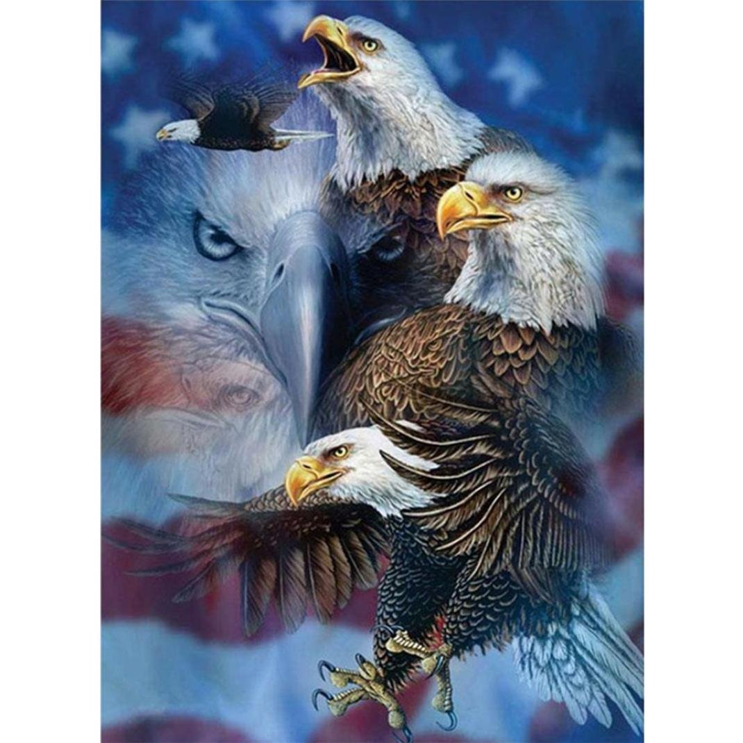 DIY Diamond 5D Embroidery Paintings, Oucan Eagle 5D Full Drill Embroidery Painting Kit 5D Decorating Wall Stickers 5D DIY Diamond Painting Set for Living Room (4030cm) Oucan Painting