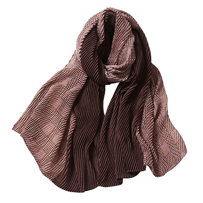 RNTOP Women Color Block Casual Stripe Chiffon Pashmina Shawl Soft Neck Scarf