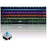 UrChoiceLtd® Ajazz AK33 Mechanical Gaming Keyboard Anti-Ghosting Multimedia Ergonomic USB Gaming Keyboard with 82 Keys RGB LED Backlit Blue Switch (Blue Swtich, RGB LED)