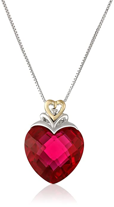 14k sterling silver yellow gold white diamond ruby heart pendant 14k sterling silver yellow gold white diamond ruby heart pendant necklace mozeypictures Choice Image