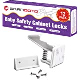 Baby Safety Cabinet Locks 12 Pack White-GRANDOTO Baby Proofing & Child Safety Cabinets Drawer Locks,DIY Easy to Install,No To