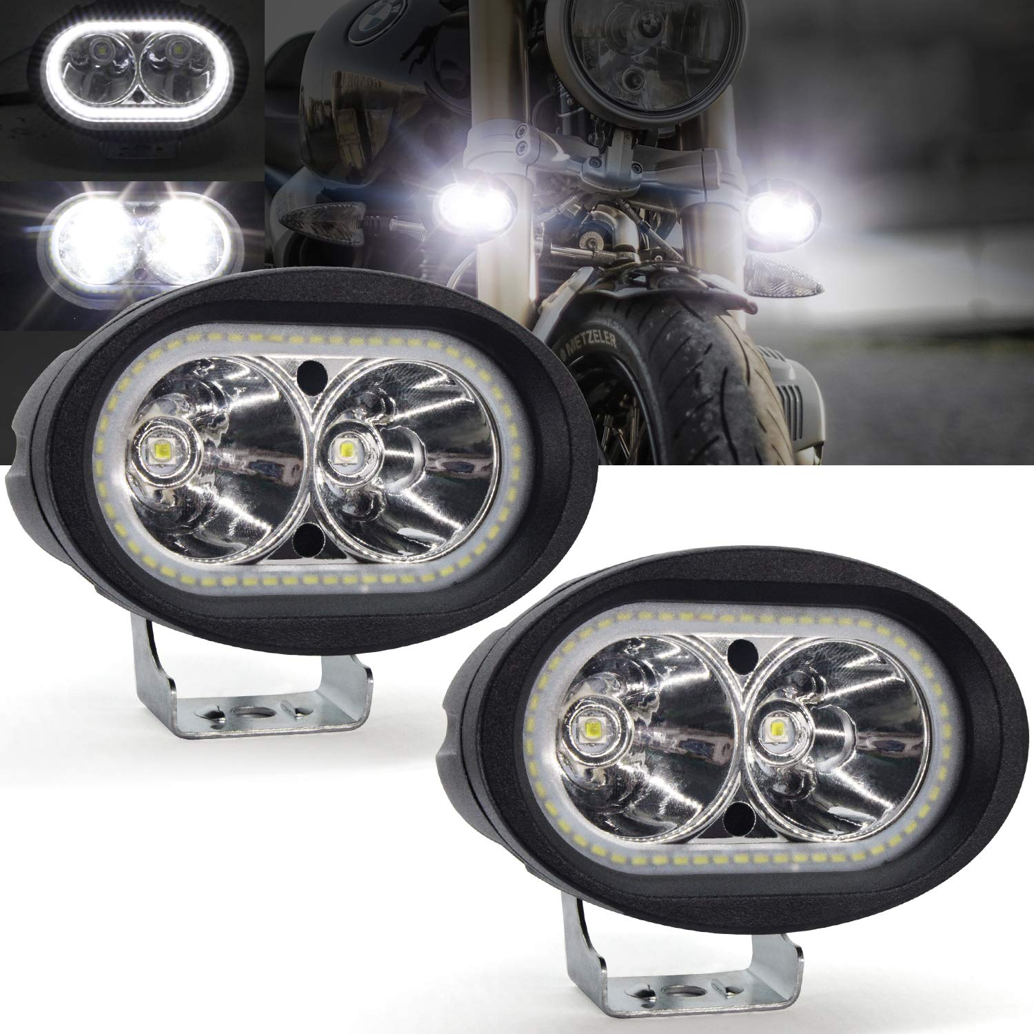 40W Motorcycle Auxiliary Lights Motorcycle LED Headlights Front Spotlights 12V 24V 3600LM Motorbike Fog Driving Light Daytime Running Lights with Switch for Scooters Trikes and Quads Truck Boat