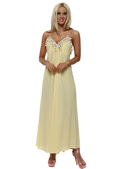 efd84699f17 Laurie   Joe Lemon Backless Halterneck Tassle Maxi Dress One Size Yellow