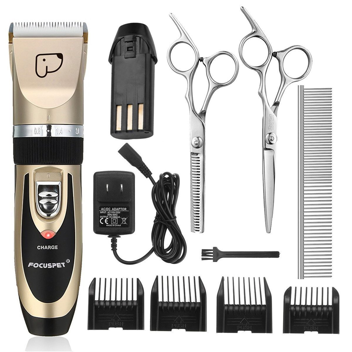 FOCUSPET Pet Grooming Clippers, Low Noise Professional Rechargeable Cordless Dog Grooming Clippers Kit Electric Hair Trimming Clippers Set Dogs Cats Other Animals (Gold&Black) by FOCUSPET (Image #1)