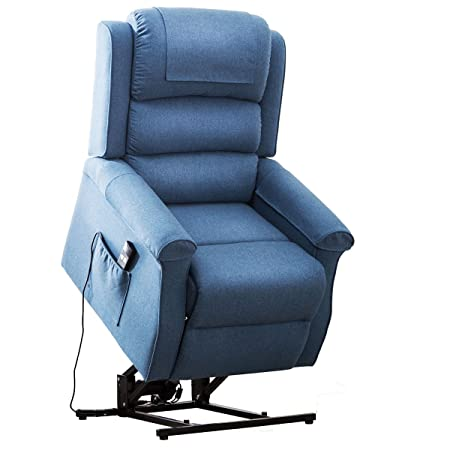 Electric Power Lift Recliner Chair Traditional Comfortable Brushed Linen Fabric Lounge for Elderly Gift Nursing Home Equipment Blue