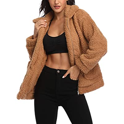 EZIGO Women's Fuzzy Fleece Sherpa Jacket Coat Warm Winter Faux Fur Shearling Jacket Coat with Pocket at Women's Coats Shop