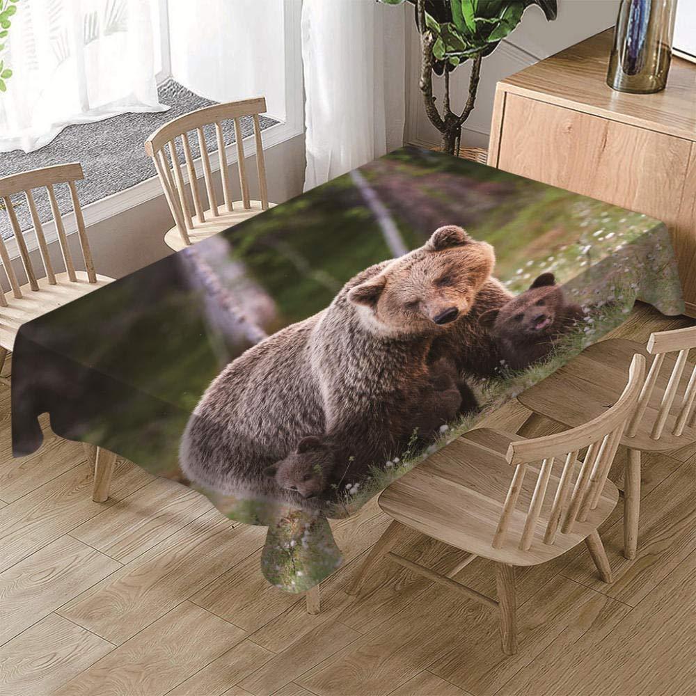 140X400CM TableclothsTischdecken 3D Effect Print Tovaglia da Tavola Decorativa Famiglia di Animali Orso Bcorrereo Pulisci La Tovaglia per La Casa 140X400Cm