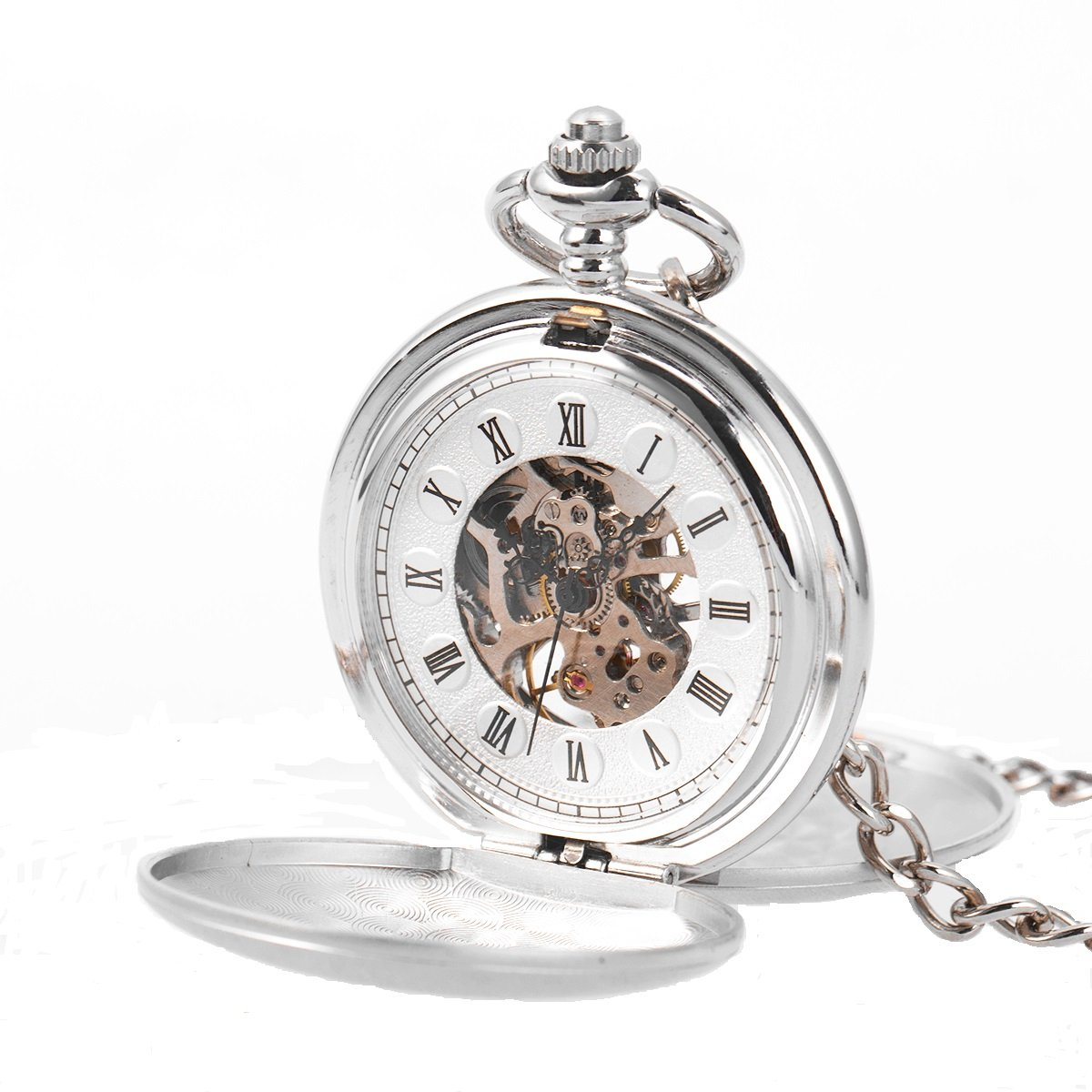 Pocket Watch Skeleton Mechanical Double Smooth Case Hand-wind Silver SIBOSUN Antique Chain + Gift Box
