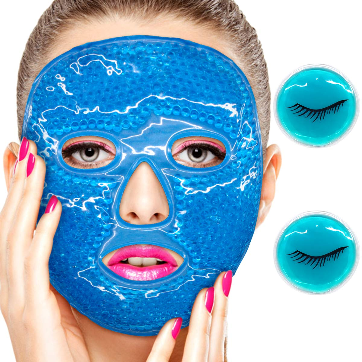 3pcs Reusable Ice Face Mask - Eye Mask for Women Hot/Cold Compress Facial Mask with Gel Beads, Face Massager, Cooling Face Mask, Stress Relief, Puffy Eyes, Dark Circles,