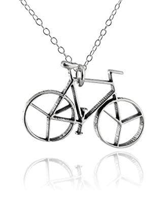 Amazon Com Fashionjunkie4life Sterling Silver Bicycle Bike Pendant