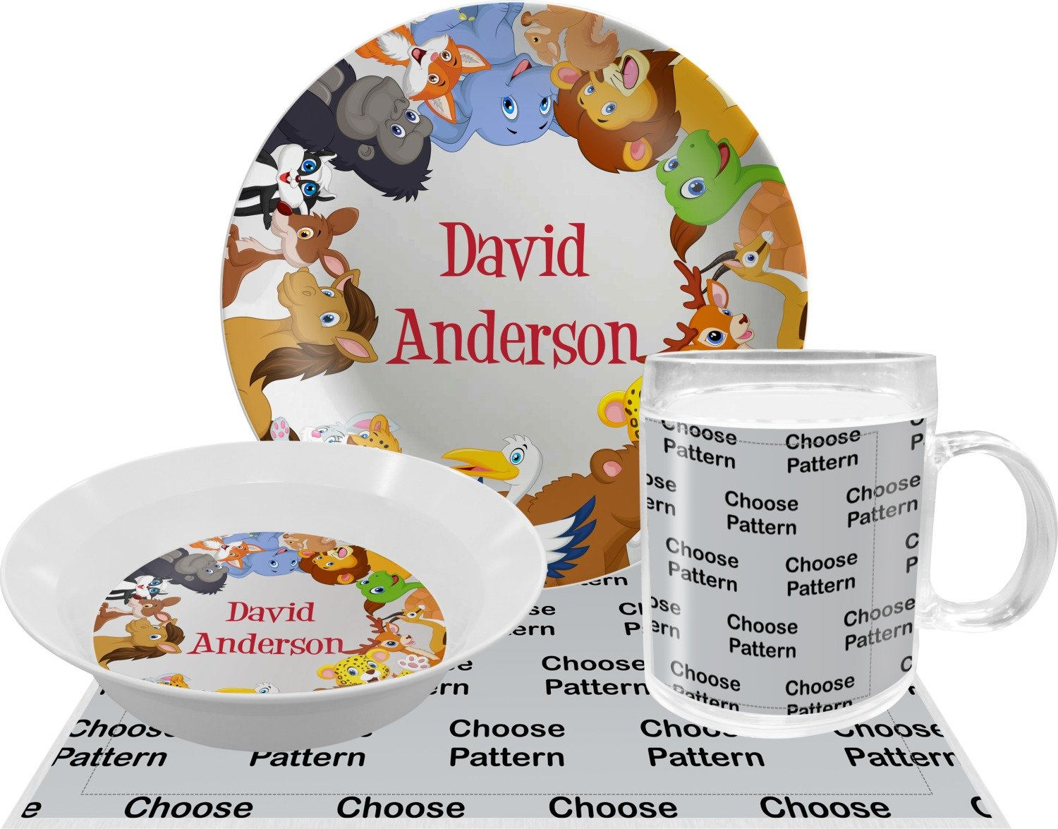 Animals Dinner Set - 4 Pc (Personalized)
