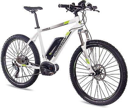 CHRISSON Bicicleta de montaña eléctrica Bosch de 27,5 pulgadas, E-Mounter 1.0 blanco, 48 cm, bicicleta eléctrica, Pedelec para hombre y mujer con Bosch Performance Line 250 W, 63 Nm – Intuvia ordenador