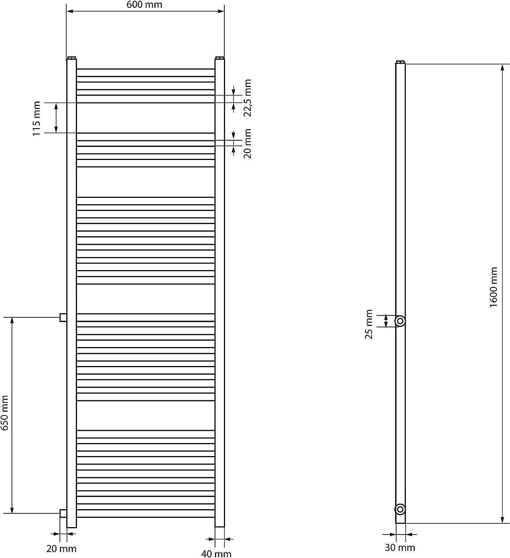 Wei/ß ECD Germany Renovierungsheizk/örper Austausch 600 x 1600 mm Badheizk/örper Heizk/örper Handtuchw/ärmer Handtuchtrockner gerade mit Seitenanschluss 650 mm