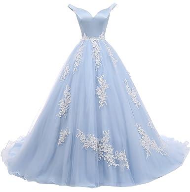 Prom Dresses Womens V-Neck Sweep Satin Lace Appliques Off-Shoulder Evening Dress Blue
