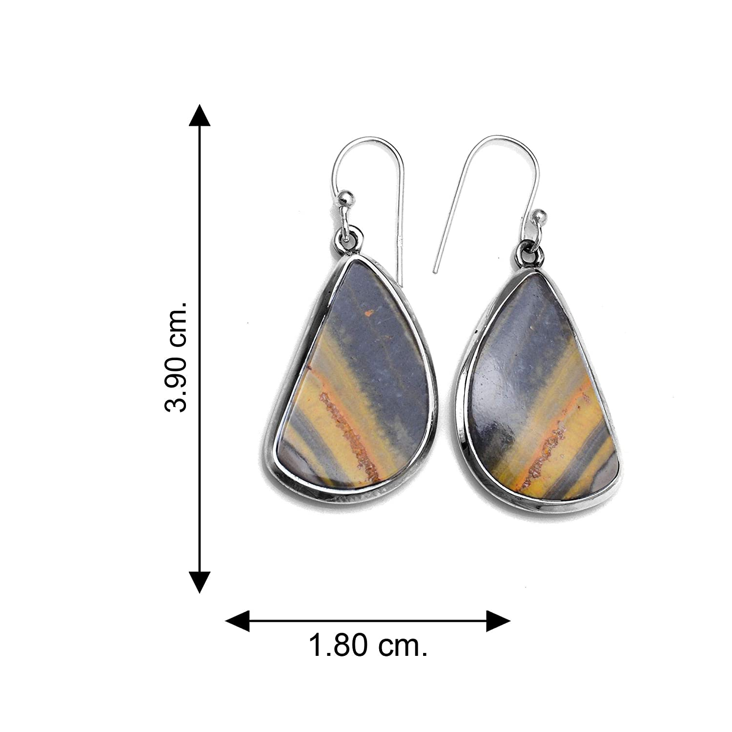Silver Palace Sterling Silver Natural Bumble Bee Jasper Earrings for Womens and Girls