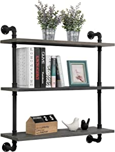 MyGift 32-inch Rustic Gray Wood & Industrial Pipe Wall Mounted 3-Tier Floating Bookshelf Display Shelving Unit