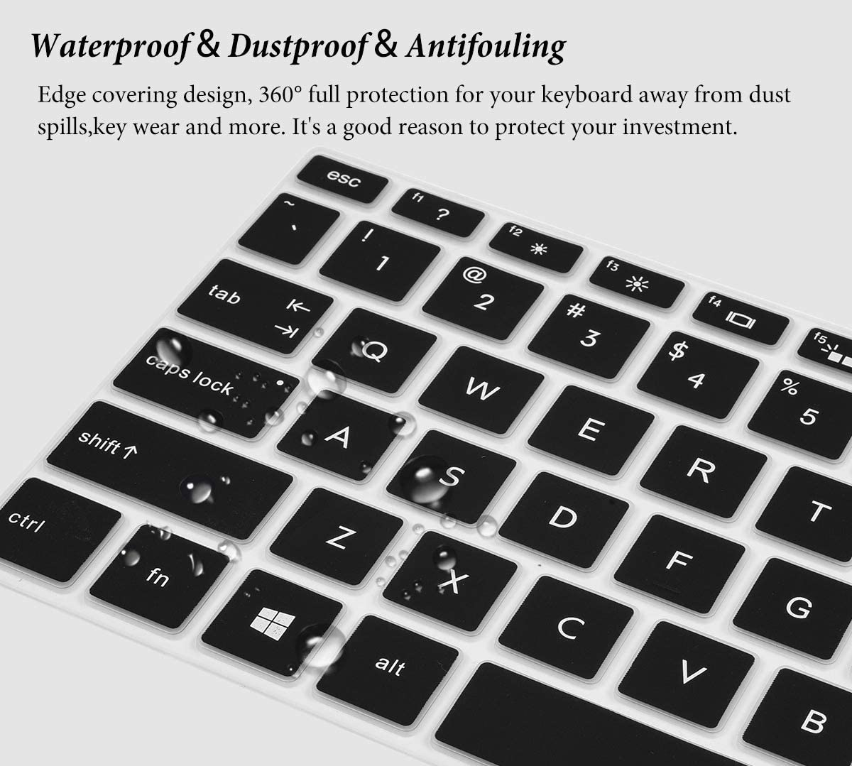 Black 2018 HP Envy 15.6 Laptop Keyboard Cover Protector for 2019 2018 New HP Envy x360 15.6 Laptop 2018 HP Envy 17.3 Laptop//HP Spectre x360 15-CH011DX Keyboard Protective Skin