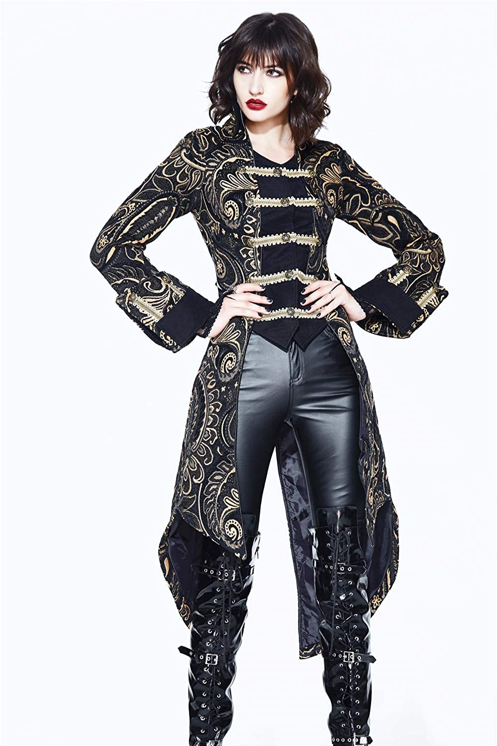 Lady Pirate Captain's Elegant Black and Gold Brocade Print Tailcoat with Attached Black Vest and Gold Braid Trim - DeluxeAdultCostumes.com