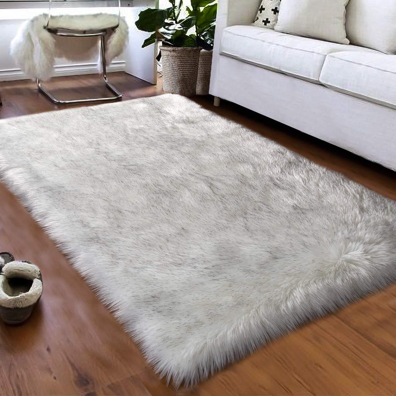 Softlife Faux Fur Sheepskin Area Rugs Shaggy Wool Carpet for Girls Room Bedroom Living Room Home Decor Rug (3ft x 5ft, White-Grey Tip)