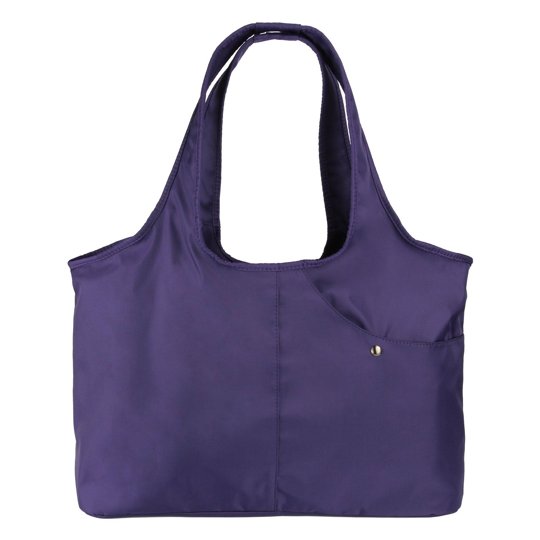 ZORESS Women Fashion Large Tote Shoulder Handbag Waterproof Tote Bag Multi-function Nylon Travel Shoulder(Purple)
