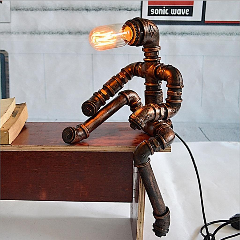 DZW Tischlampe, Tischlampe, Tischlampe, Retro-Lampe, Nachttischlampe Eisenlampe Amerikanisches Land Kreative Beleuchtung Schlafzimmer, Studie Lichtleitung 23  18  45cm(Enthält keine Glühbirnen) 31c7b4