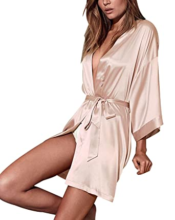 f7f4baad98a3 Find Dress Women s Solid Satin Robe Bridemaids Robes Sliky Kimomo  10186ChampagneS