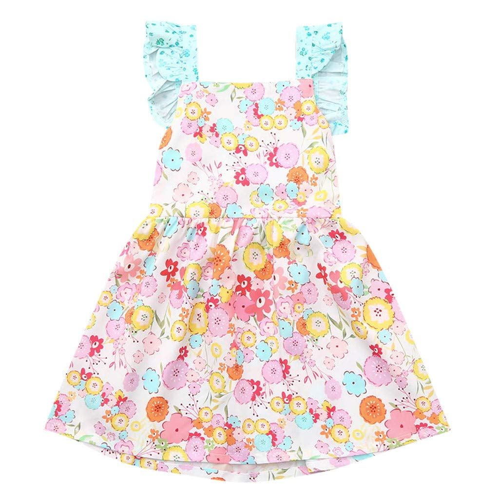 Baby Girls Princess Dress GorNorriss Sleeve Ruffled Frilled Strapless Ribbons Floral Print Skirt