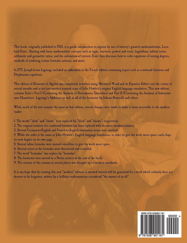 elements of algebra co uk leonhard euler scott l hecht elements of algebra co uk leonhard euler scott l hecht 9781508901181 books