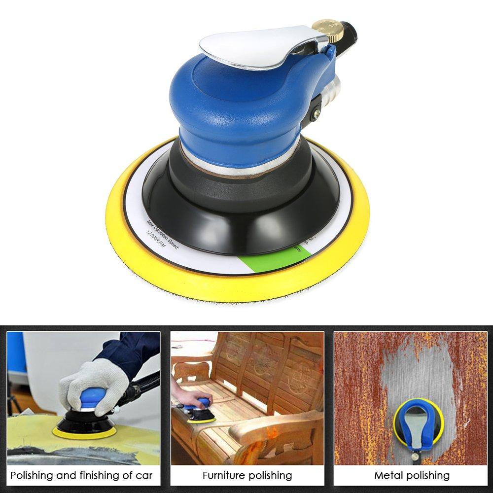 KKmoon Multifunction 6'' 10000RPM Pneumatic Palm Random Orbital Sander Polisher Air Powered Orbit Polisher Dual Action Polishing Grinding Sanding Waxing Tools with Vacuuming Bag by KKmoon (Image #7)