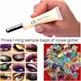 e.l.f. Glitter Primer Plus 3 Colors Loose Glitter Bags (1/2 gram each) for Eyes & Face | Eye Shadow Cosmetics Makeup | Perfect for Parties, New Year's Eve, Concerts, Sports, Dances