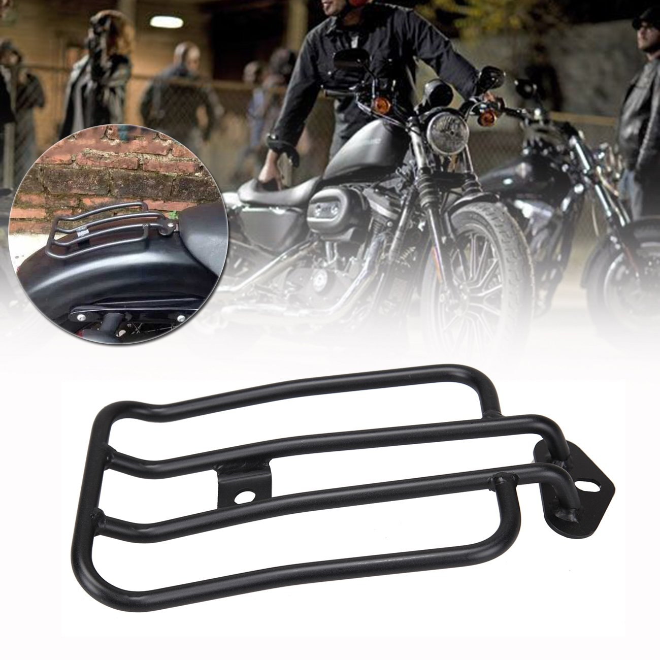 Samger Black Motorcycle Rear Rack Solo Seat Luggage Rack Plated Luggage Shelf for Harley Sportster XL 883 1200 77-0073 77-0073-B