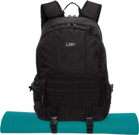 98aebae4d314 LISH Vinyasa Yoga Mat Backpack - Multipurpose Lightweight Gym Tote Bag ( Black)