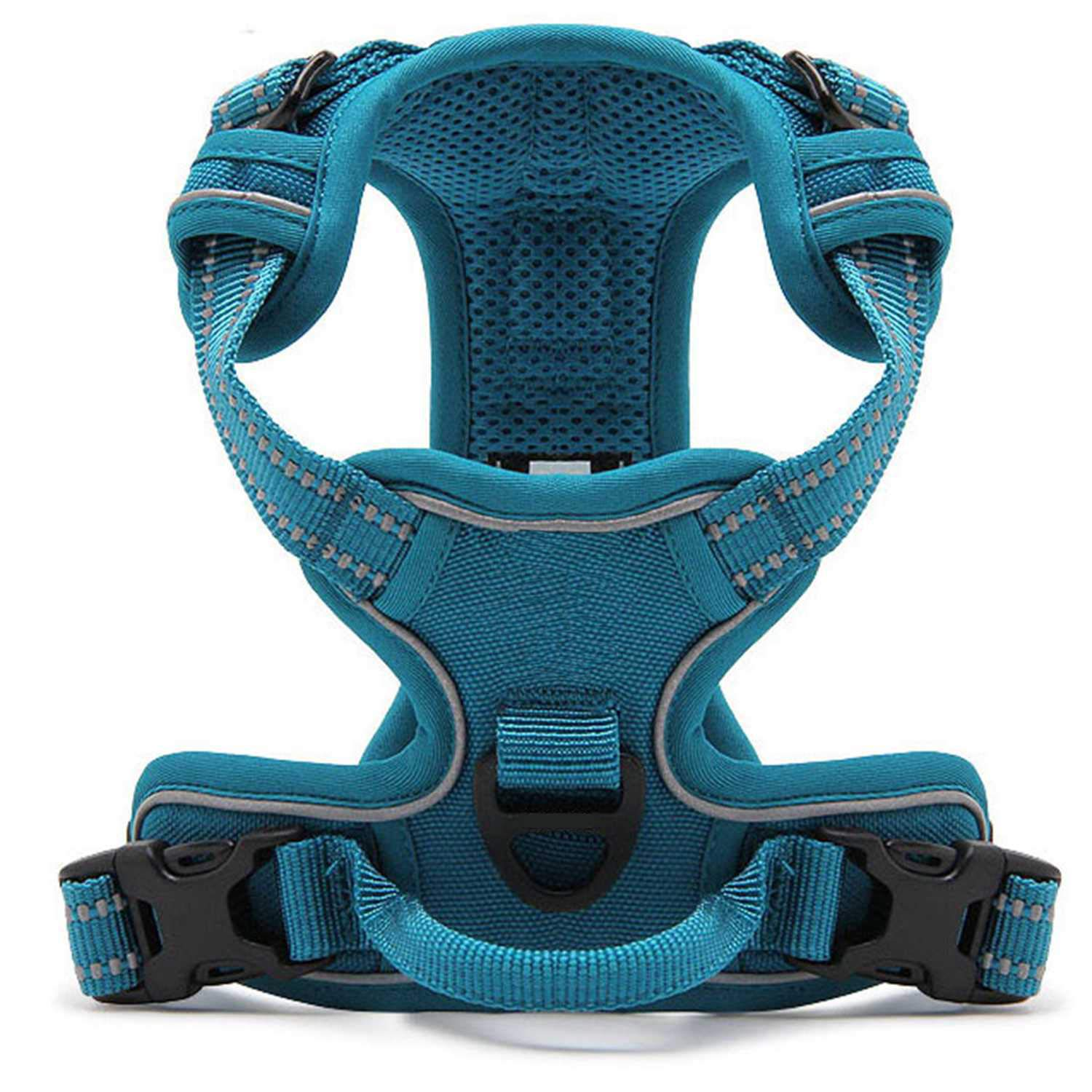 Kaka mall Pet Dog Cats Vest harness No Pull 3M Reflective Breathable Padded Mesh Adjustable Double Zinc-alloy D-ring for Outdoor Adventure (bluee, XS)