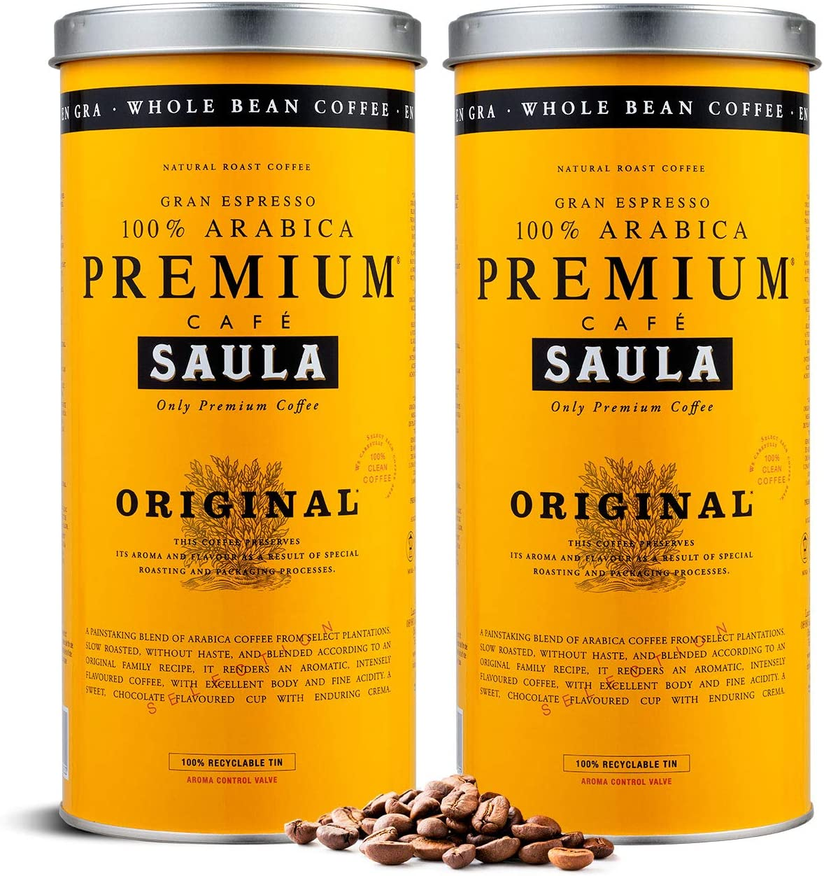 Café en grano Saula, Pack 2 botes de 500 gr. Premium Original 100% arabica: Amazon.es: Alimentación y bebidas