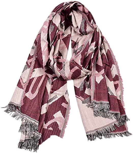 Uteruik - Bufanda de Invierno para Hombre - Bufanda de Borla cálida de algodón con patrón de Letras, 1 Unidad Rojo Rojo: Amazon.es: Hogar