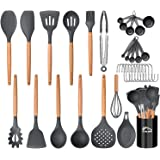 Aybloom 25 PCS Silicone Kitchen Cooking Utensil Set, Woodle Handle BPA Free Non Toxic Non-stick Heat Resistant Silicone Kitch