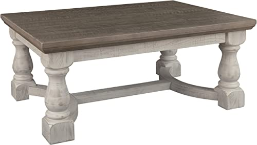 Signature Design by Ashley – Havalance Farmhouse Cocktail Table, Whitewash Brown Wood