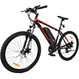 Ancheer 2018 Electric Mountain Bike with Removable LG 36V 8Ah Lithium-Ion Battery for Adults, 26 Inch Electric Mountain Bicycles with Shimano 21 Speed Shifter