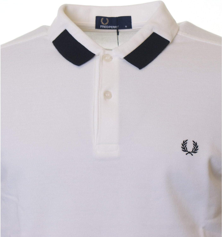 Fred Perry Camisa de Manga Corta con Punta Polo Camiseta Blanca como la Nieve