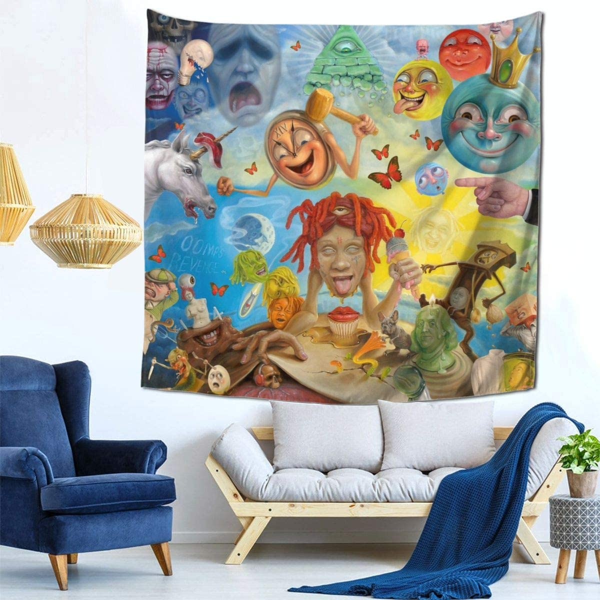 Life s A Trip Out Now Trippie-Redd Wall Hanging Tapestry Home Decor 3D Print Tapestry 59×59 Inch