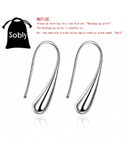 """Sobly Women 925 Sterling Silver Plated Teardrop Drop Dangle Earrings with Print """"Sobly"""" Bag"""